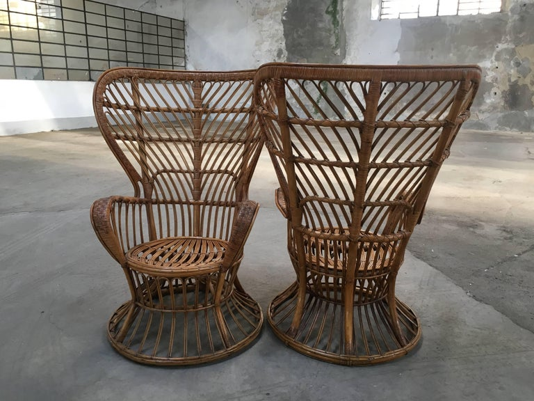 Mid-Century Modern Pair of Italian Rattan Chairs from 1940s by Lio Carminati for Bonacina For Sale