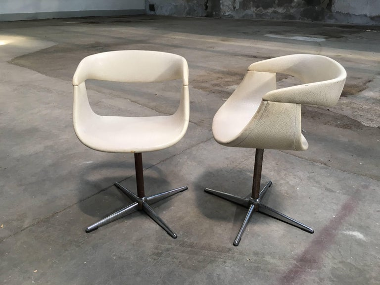 Metal Pair of Italian Swivel Chairs with Eco Leather from 1960s For Sale
