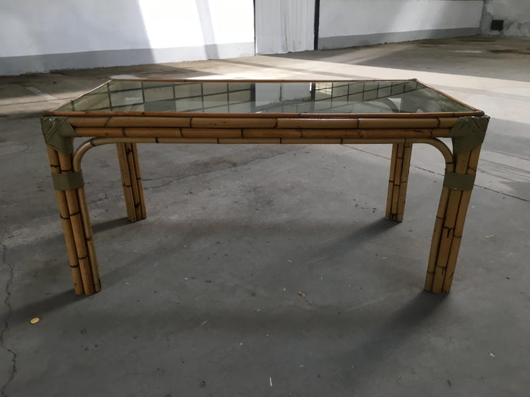 Mid-20th Century Mid-Century Modern Bamboo and Glass Italian Dining Table For Sale