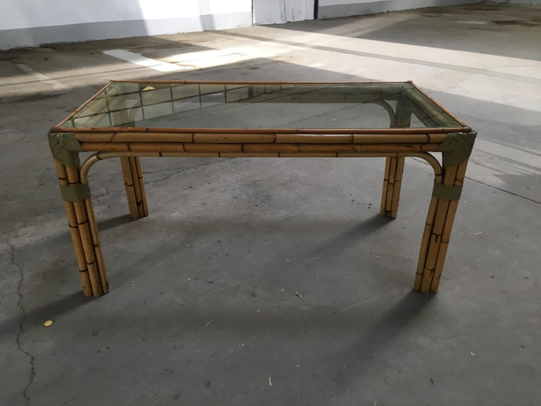 Leather Mid-Century Modern Bamboo and Glass Italian Dining Table For Sale