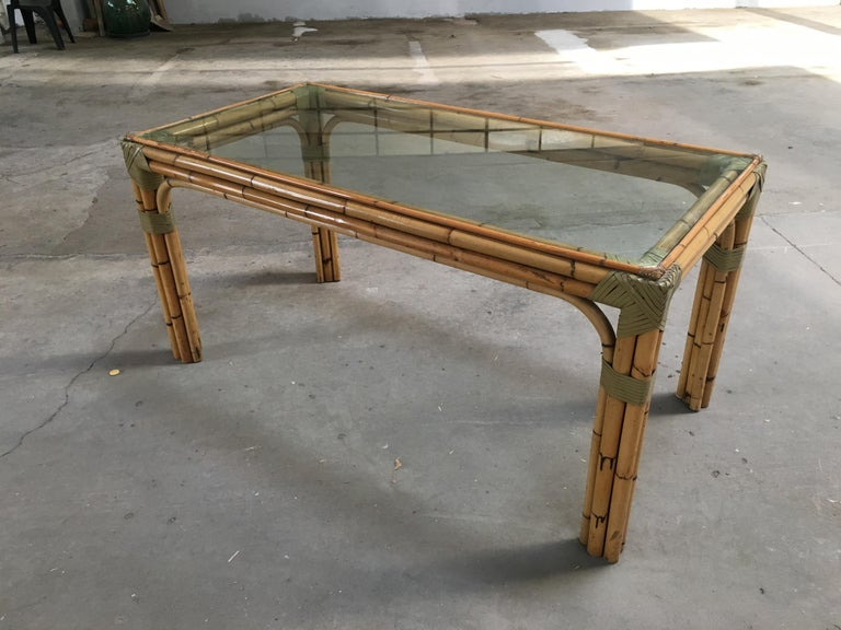 Mid-Century Modern bamboo and glass Italian dining table.