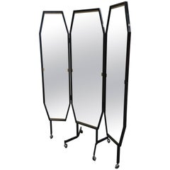 Italian Triptych Freestanding Dressing Mirror on Wheels from 1960s