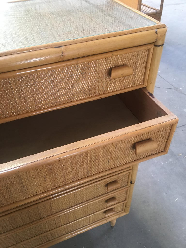 Mid-Century Modern Italian Bamboo 'Settimino' or Chest of Drawers from 1970s For Sale 3