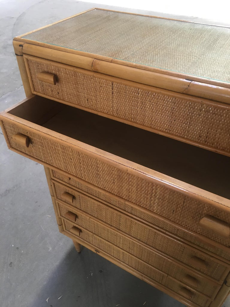 Mid-Century Modern Italian Bamboo 'Settimino' or Chest of Drawers from 1970s For Sale 4