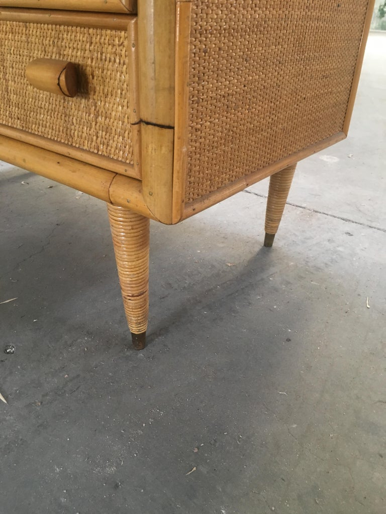 Mid-Century Modern Italian Bamboo 'Settimino' or Chest of Drawers from 1970s For Sale 6