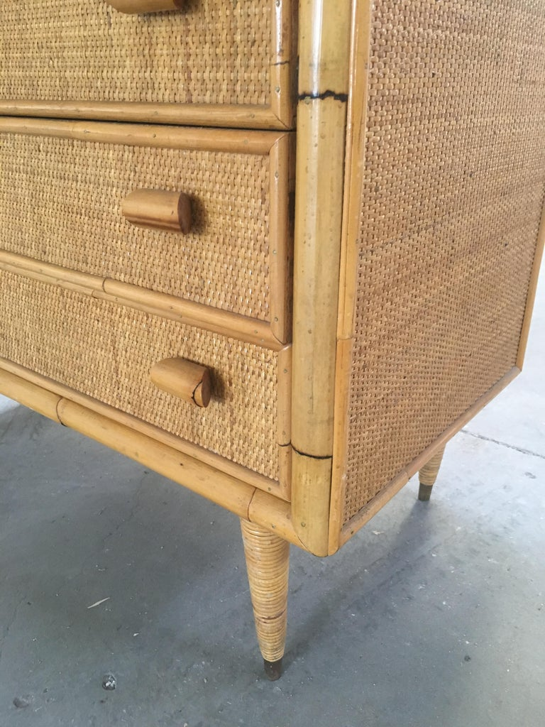 Mid-Century Modern Italian Bamboo 'Settimino' or Chest of Drawers from 1970s For Sale 7