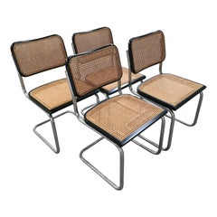 "Mid-Century Modern Set of Italian Black and Cane ""Cesca"" Chairs by Marcel Breuer"