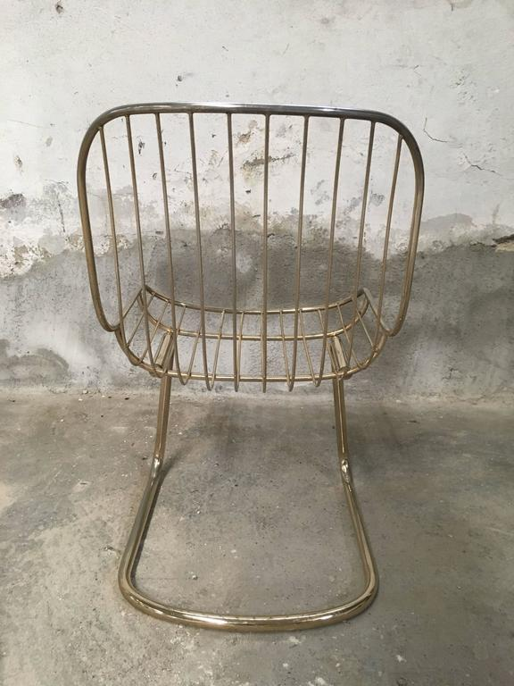Mid-Century Modern Set of Four Gilt Metal Italian Dining Chairs from 1970s For Sale 2