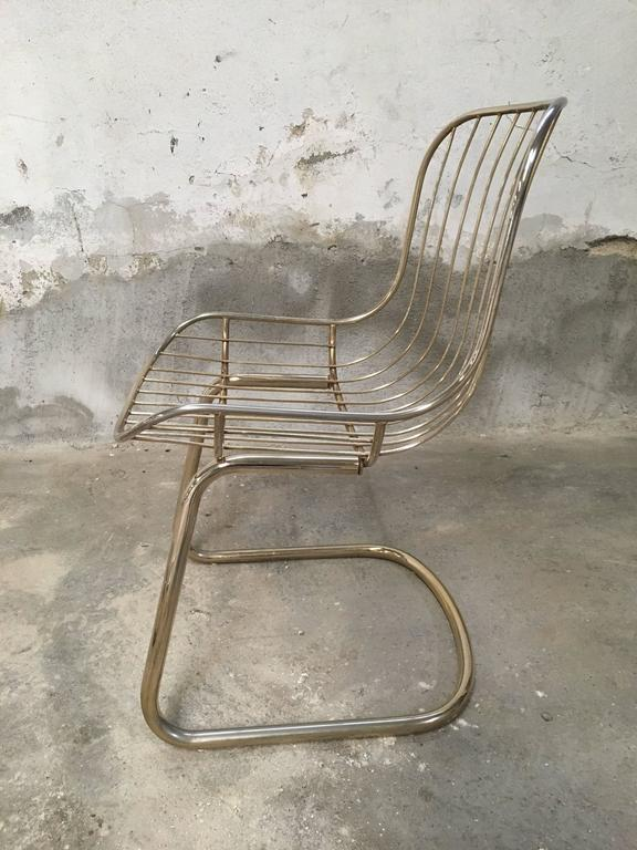 Mid-Century Modern Set of Four Gilt Metal Italian Dining Chairs from 1970s For Sale 1