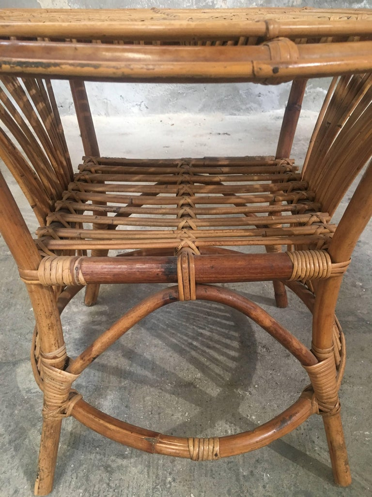 Italian Bamboo And Rattan Chairs With Side Table From 1950s For Sale At 1stdibs