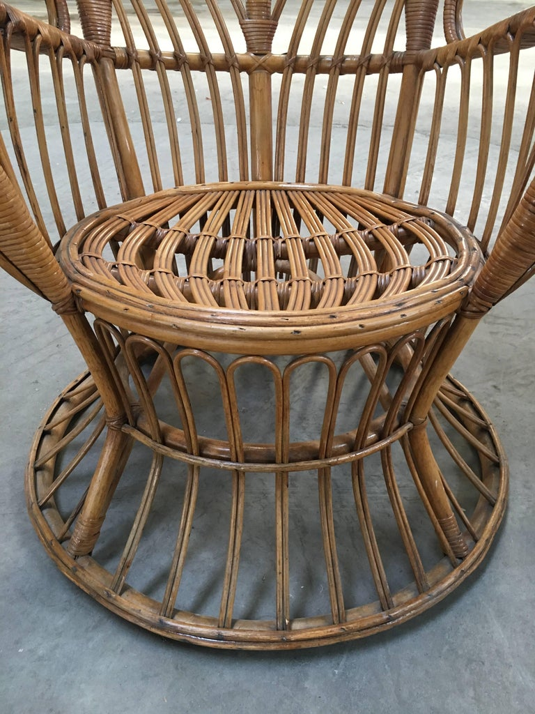 Mid-20th Century Pair of Italian Rattan Chairs from 1940s by Lio Carminati for Bonacina For Sale