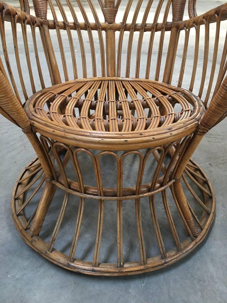 Pair of Italian Rattan Chairs from 1940s by Lio Carminati for Bonacina 5