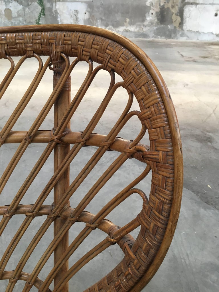 Pair of Italian Rattan Chairs from 1940s by Lio Carminati for Bonacina For Sale 3
