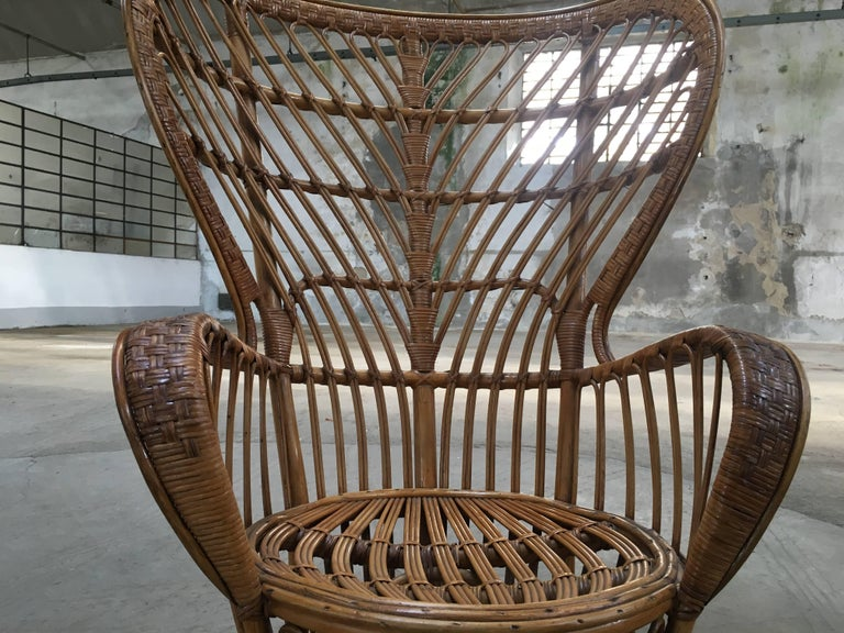Pair of Italian Rattan Chairs from 1940s by Lio Carminati for Bonacina For Sale 1