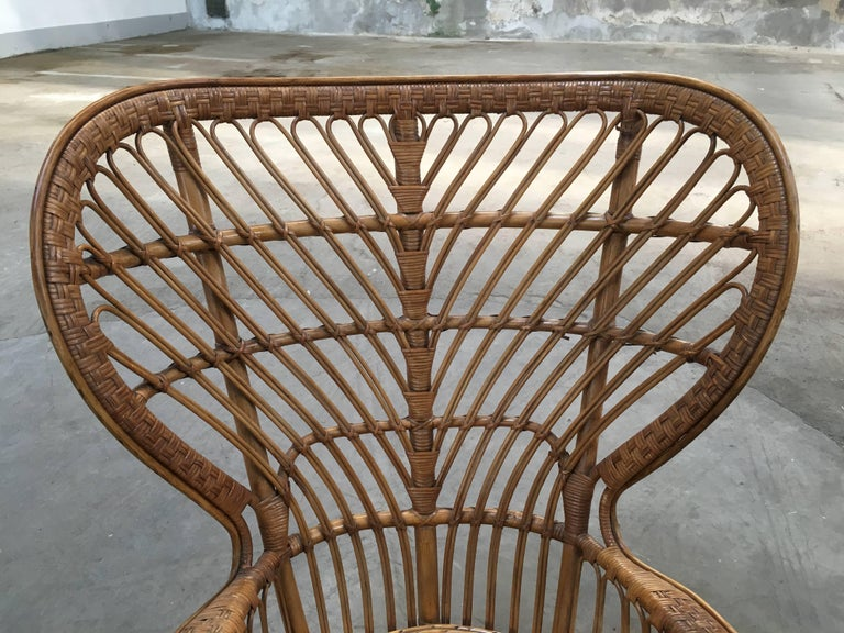 Pair of Italian Rattan Chairs from 1940s by Lio Carminati for Bonacina In Excellent Condition For Sale In Prato, IT