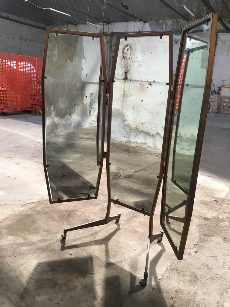Italian triptych standing mirror on wheels from 1960s.