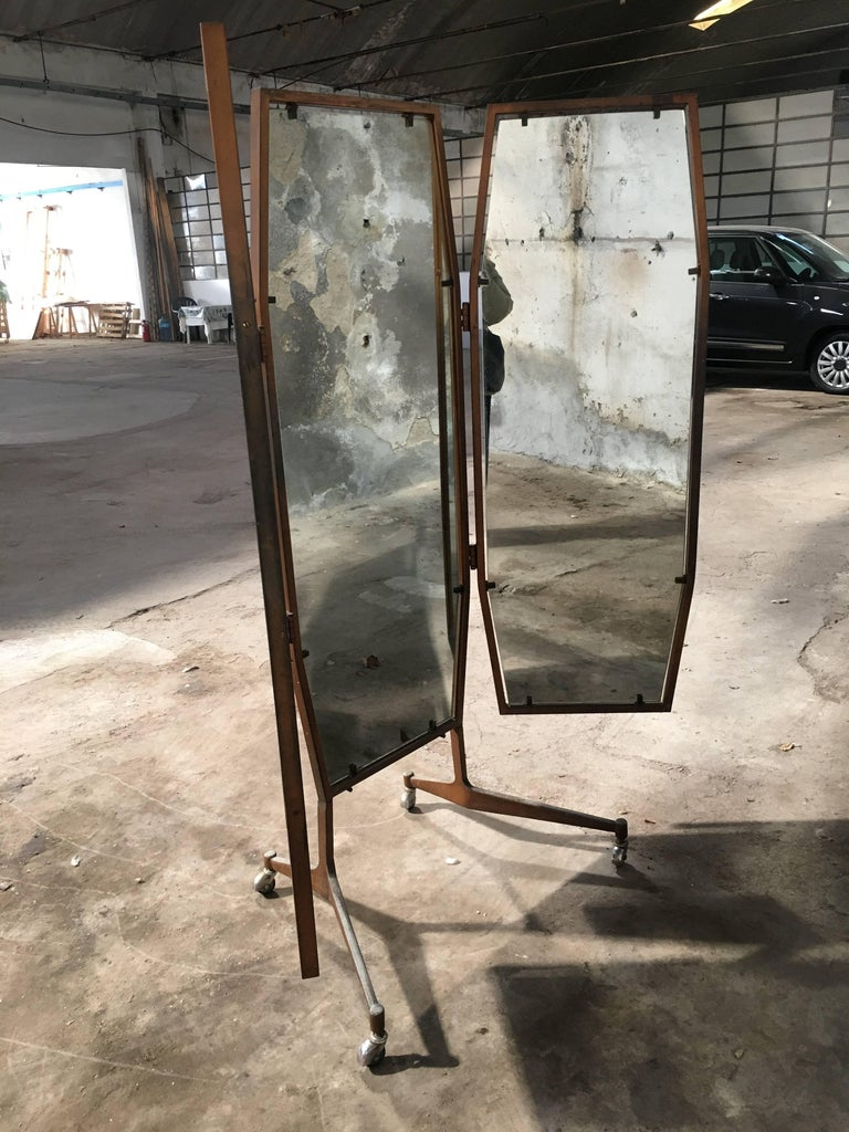 Mid-Century Modern Italian Triptych Standing Mirror on Wheels from 1960s For Sale