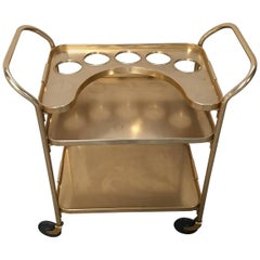 Italian Gilt Aluminium Bar Cart on Wheels from 1960s