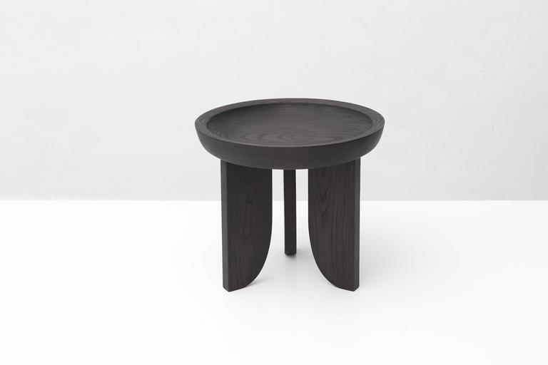 Dish Solid Wood Contemporary Sculptural Carved Side Coffee Stool Table Black 4