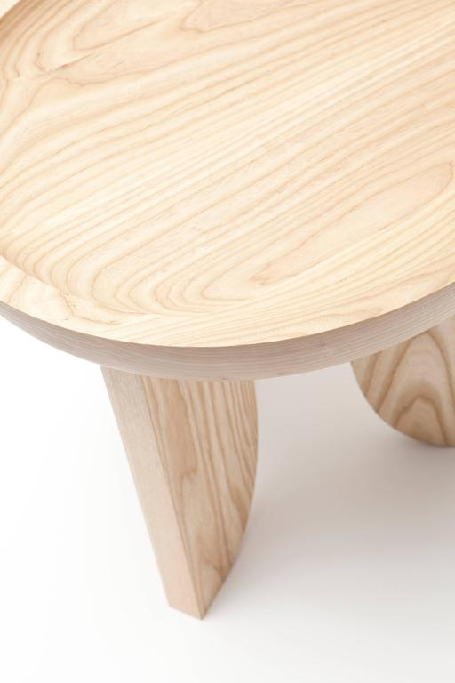Modern Dish Solid Wood Contemporary Sculptural Carved Side Coffee Stool Table Natural For Sale