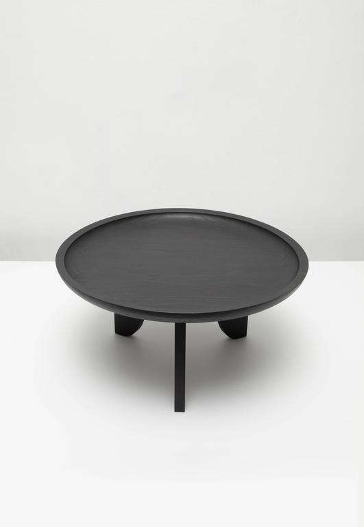 Dish Solid Wood Contemporary Sculptural Carved Side Coffee Table Black 3