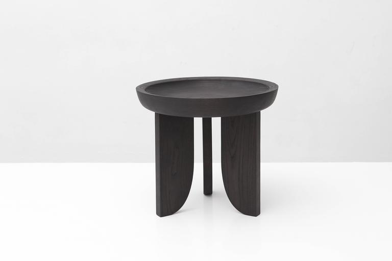 Dish Solid Wood Contemporary Sculptural Carved Side Coffee Stool Table Black 2