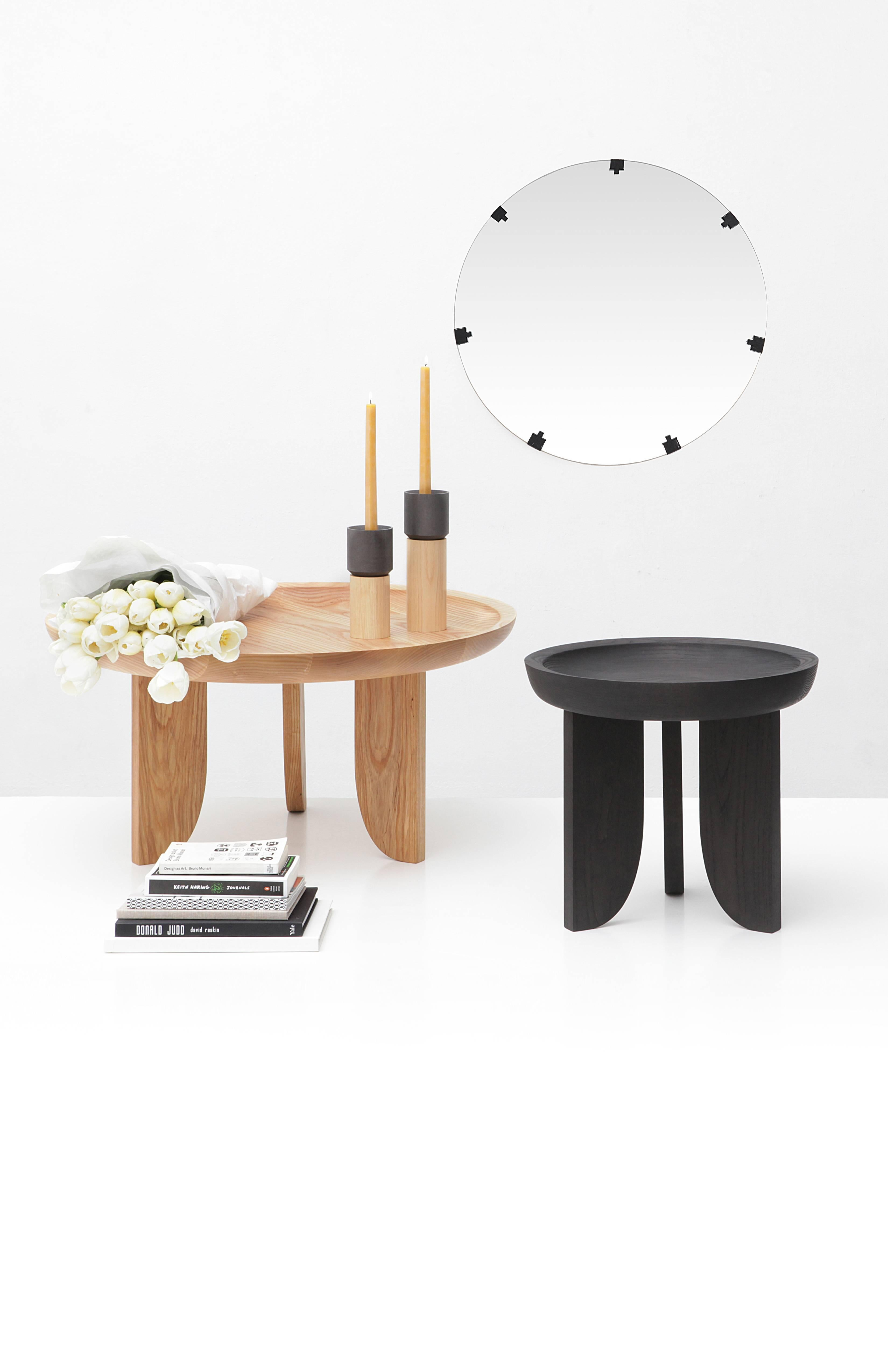 Dish Solid Wood Contemporary Sculptural Carved Side Coffee Stool Table  Black For Sale At 1stdibs