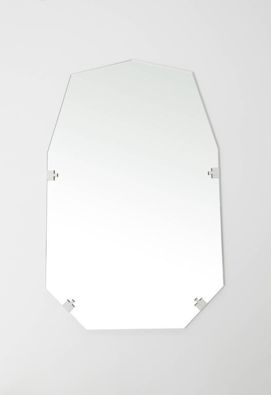 American Stitch Nonagon Rectangular Contemporary Textile Edge Wall Vanity Bathroom Mirror For Sale