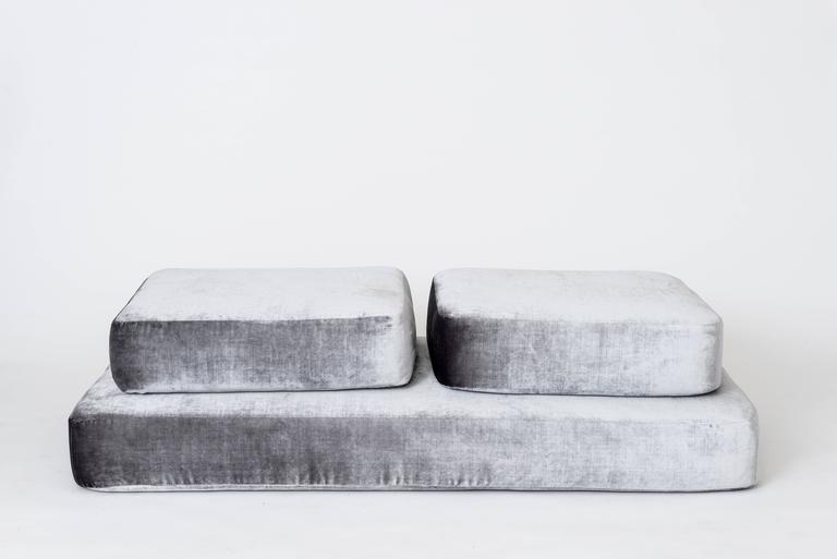 Stacks Bench by Another Human, Contemporary Upholstered Modular Bench, Velvet For Sale 3