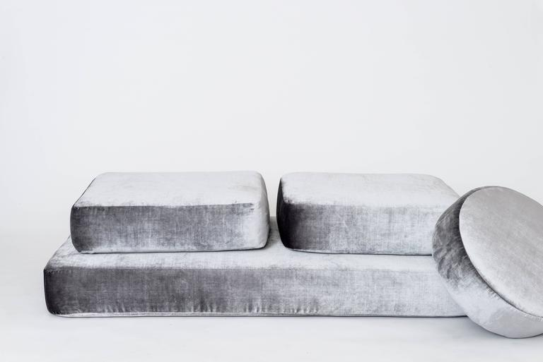 Stacks Bench by Another Human, Contemporary Upholstered Modular Bench, Velvet In New Condition For Sale In Los Angeles, CA