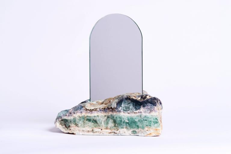Aura Mirror by Another Human, Contemporary Crystal Vanity Mirror in Fluorite In New Condition For Sale In Los Angeles, CA
