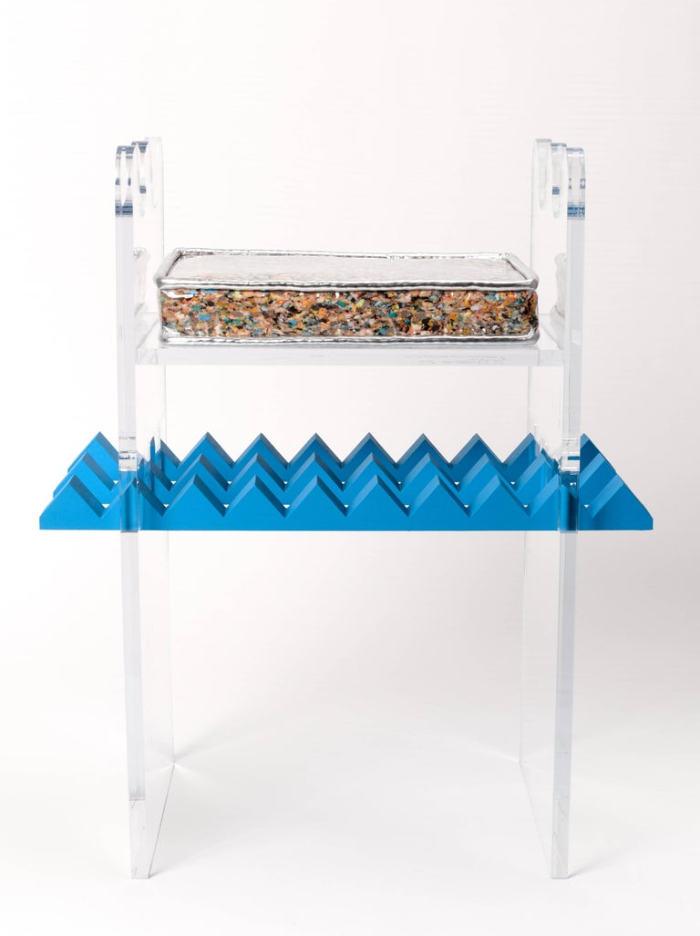 Designed to create a tension between the piece and the sitter, each detail of the uneasy stool was intentionally crafted to create a sense of anxiety around the form and function of the piece. The lack of fasteners holding up the seat, the