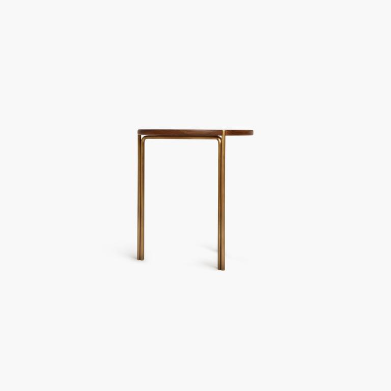 Blackened Contemporary Handcrafted Minimalist Modern Stool in Oiled Walnut and Brass For Sale