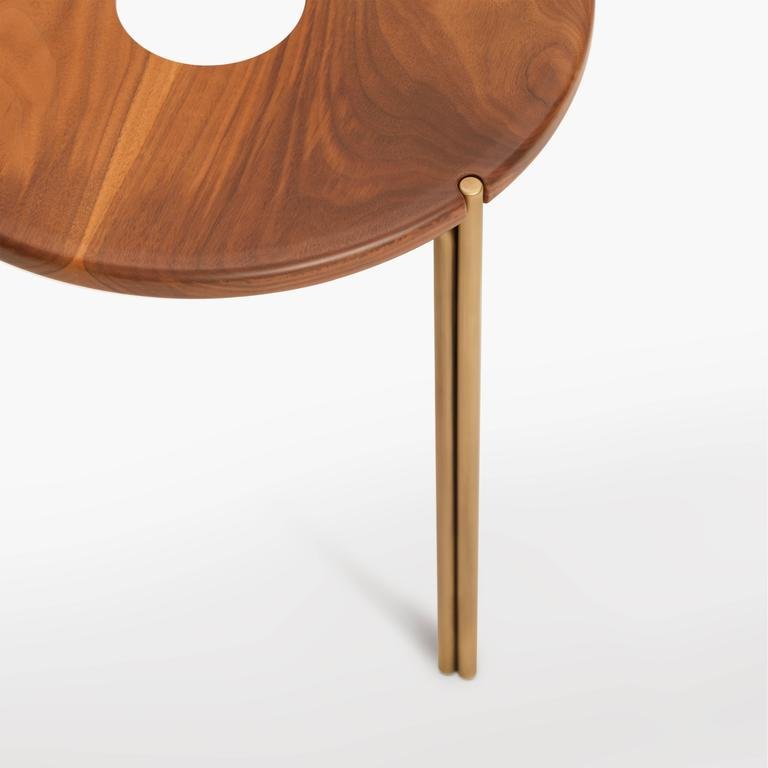 American Contemporary Handcrafted Minimalist Modern Stool in Oiled Walnut and Brass For Sale