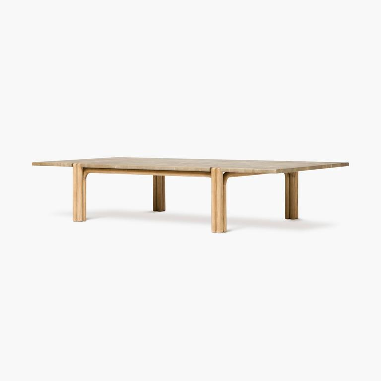 Bleached CA21S Contemporary Handcrafted Minimalist Modern Marble and Oak Coffee Table For Sale