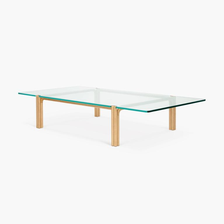 CA21S Contemporary Handcrafted Minimalist Modern Marble and Oak Coffee Table For Sale 3
