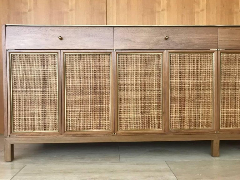 American Midcentury Inspired Handcrafted Teak Buffet with Brass Top and Details For Sale