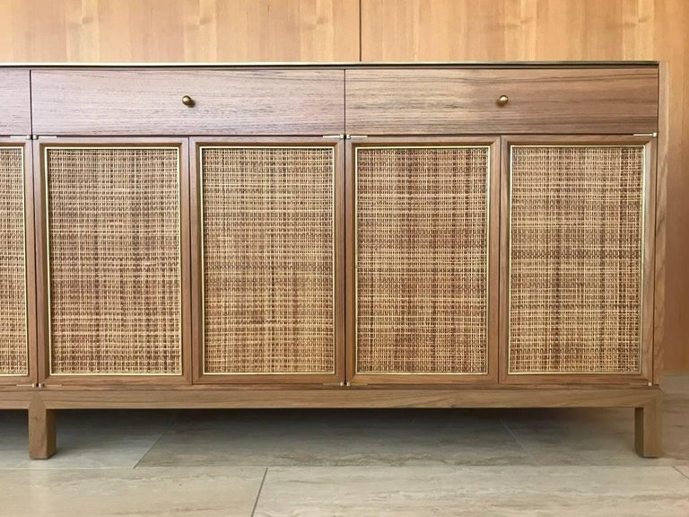 Woven Midcentury Inspired Handcrafted Teak Buffet with Brass Top and Details For Sale