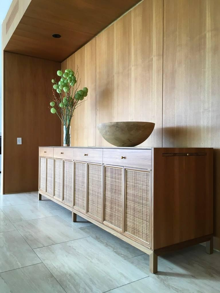 Mid-Century Modern Midcentury Inspired Handcrafted Teak Buffet with Brass Top and Details For Sale