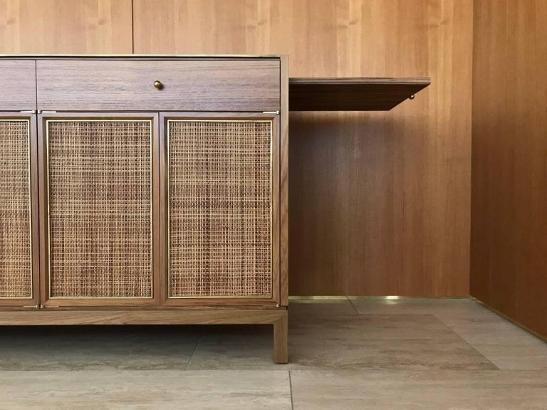 Midcentury Inspired Handcrafted Teak Buffet with Brass Top and Details In New Condition For Sale In Beverly Hills, CA