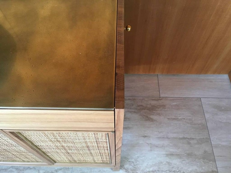 Contemporary Midcentury Inspired Handcrafted Teak Buffet with Brass Top and Details For Sale