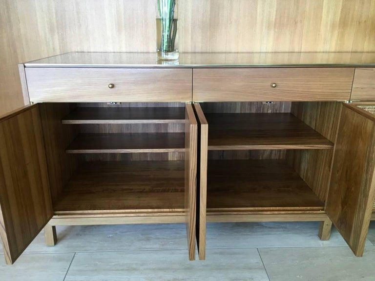 Midcentury Inspired Handcrafted Teak Buffet with Brass Top and Details For Sale 3