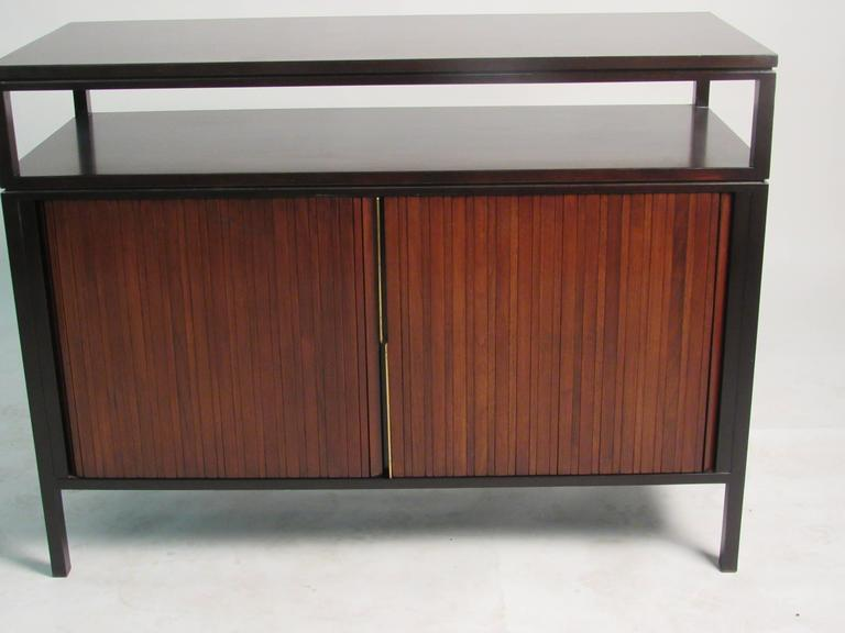Edward Wormley Mahogany Cabinet with Tambour Doors for Dunbar, circa 1950s In Good Condition For Sale In Surprise, AZ