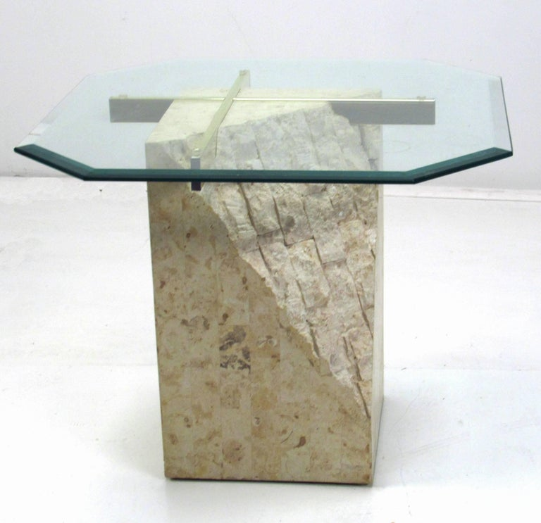Italian travertine and brass with glass top occasional table by Artedi. Original thick beveled glass top.