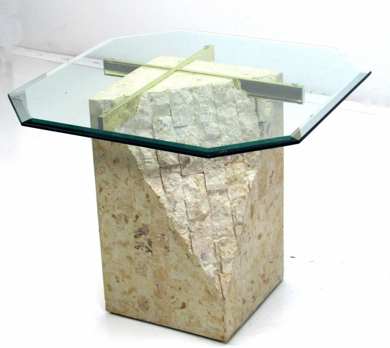 Modern Italian Travertine and Brass Occasional Table with Glass Top by Artedi For Sale
