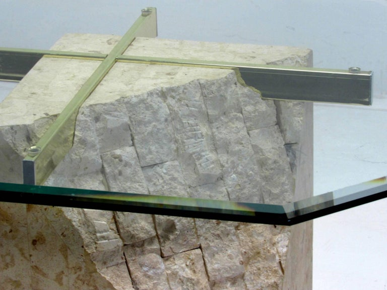 Italian Travertine and Brass Occasional Table with Glass Top by Artedi In Good Condition For Sale In Surprise, AZ