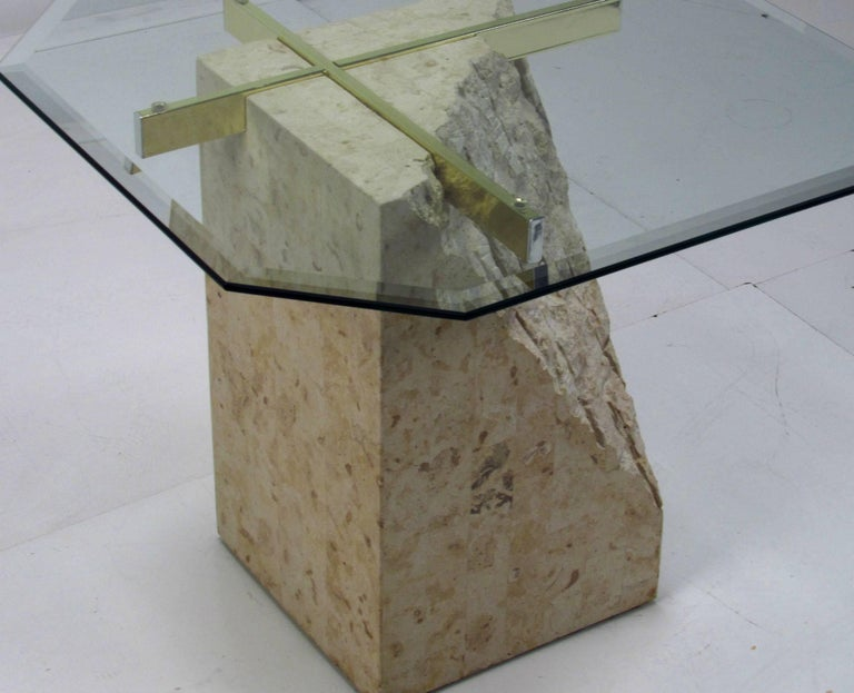 20th Century Italian Travertine and Brass Occasional Table with Glass Top by Artedi For Sale