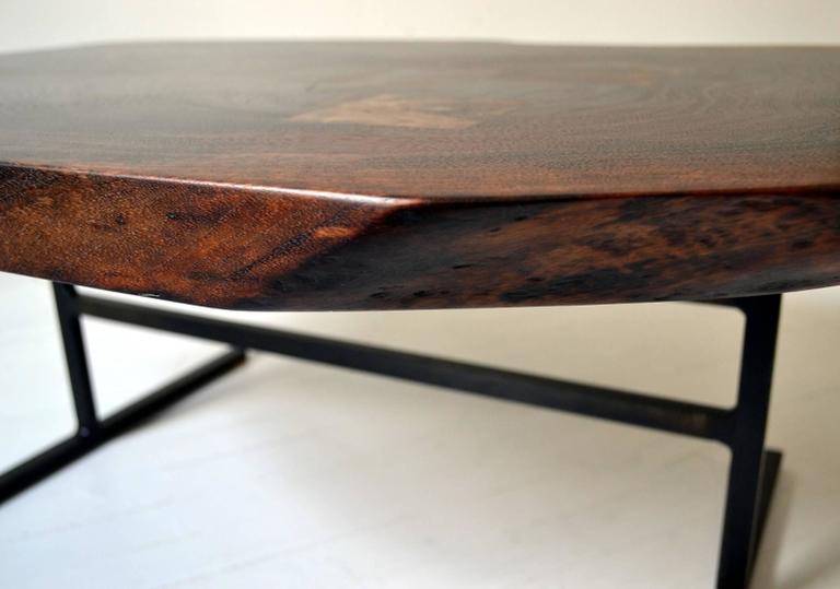 Jasper Coffee Table, Live Edge Trestle Table, Contemporary Modern, Wood U0026  Steel For