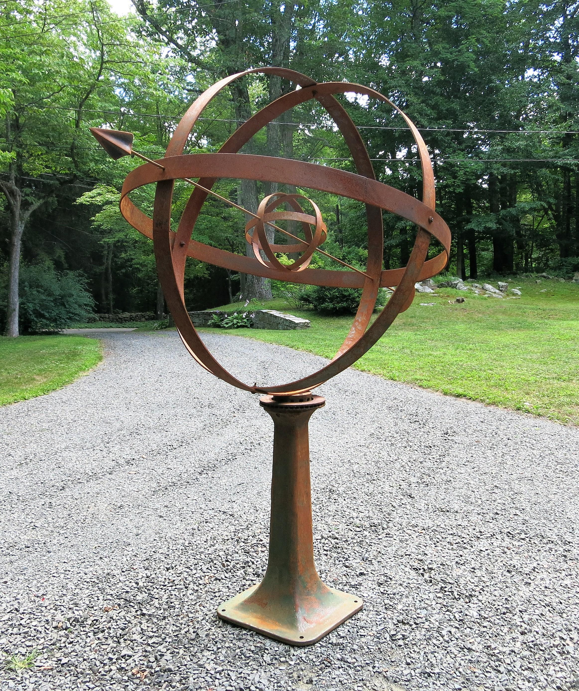 American Large Garden Armillary Artisan Made, Garden Sphere For Sale