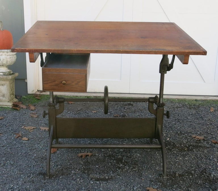 Antique Hamilton Drafting Table Industrial Table For Sale 3
